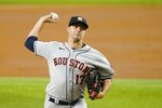 Houston Astros starting pitcher Jake Odorizzi throws in the first inning of a baseball game against the Texas Rangers in Arlington, Texas, Monday, Sept. 13, 2021. (AP Photo/Tony Gutierrez)