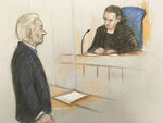 Courts artist sketch by Elizabeth Cook showing Julian Assange facing District Judge Vanessa Baraitser at Westminster Magistrates' Court in London, Monday Oct. 21, 2019, for a hearing related to his extradition to the United States. WikiLeaks founder Julian Assange appeared in court Monday to fight extradition to the United States on charges of espionage, with the full extradition hearing set for February 2020. (Elizabeth Cook/PA via AP)