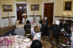 First lady Melania Trump speaks during the Governors' Spouses' luncheon in the Blue Room of the White House in Washington, Monday, Feb. 10, 2020. (AP Photo/Susan Walsh)
