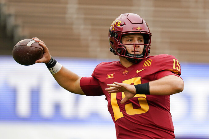 FILE - Iowa State quarterback Brock Purdy warms up before an NCAA college football game against Louisiana-Lafayette, Saturday, Sept. 12, 2020, in Ames, Iowa. Iowa State plays TCU on Saturday, Sept. 26. (AP Photo/Charlie Neibergall, File)