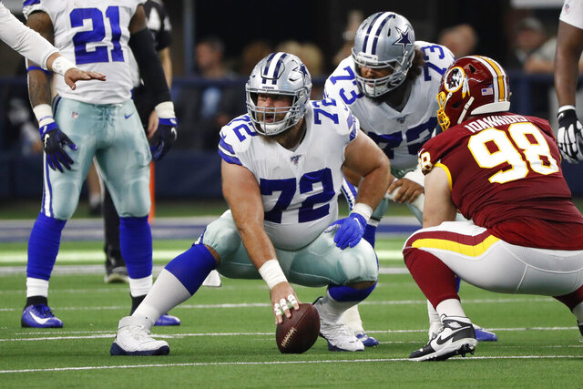 In this Dec. 15, 2019, photo, Dallas Cowboys center Travis Frederick (72) plays in the first half of an NFL football game against the Washington Redskins in Arlington, Texas. Frederick is retiring from the NFL at 29. The surprising decision comes less than two years after Frederick was diagnosed with a neurological disorder that sidelined him for all of 2018. (AP Photo/Roger Steinman)