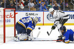 St. Louis Blues goaltender Jordan Binnington (50) and teammate Robert Bortuzzo, right, protect the goal from a shot by Los Angeles Kings' Alex Iafallo, top right, during the second period of an NHL hockey game Thursday Oct. 24, 2019, in St. Louis. (AP Photo/Scott Kane)