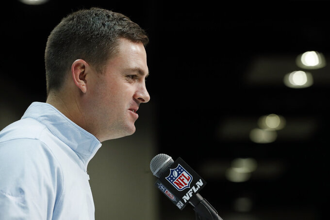 Cincinnati Bengals head coach Zac Taylor speaks during a press conference at the NFL football scouting combine in Indianapolis, Tuesday, Feb. 25, 2020. (AP Photo/Charlie Neibergall)