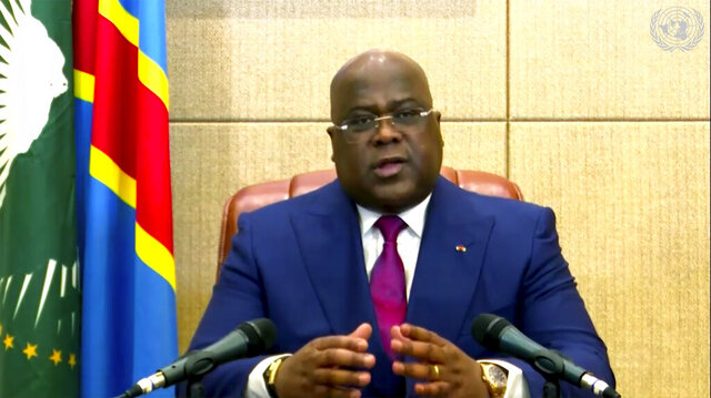 In this image made from UNTV video, Felix Tshisekedi, President of Congo, speaks in a pre-recorded message which was played during the U.N. General Assembly's special session to discuss the response to COVID-19 and the best path to recovery from the pandemic, Thursday, Dec. 3, 2020, at UN headquarters in New York. (UNTV via AP)