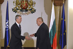 Bulgarian Prime Minister Boyko Borissov, right, meets NATO Secretary General Jens Stoltenberg prior to their talks in the Council of Ministers headquarters in Sofia, Bulgaria, Friday, March 1, 2019. (AP Photo)