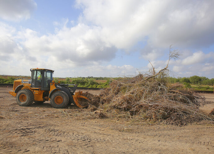 Vegetation is piled in preparation of new border wall construction Friday, Oct. 11, 2019, south of Donna, Texas.(Joel Martinez/The Monitor via AP)