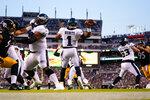 Philadelphia Eagles quarterback Jalen Hurts (1) passes the ball during the first half of a preseason NFL football game against the Pittsburgh Steelers Thursday, Aug. 12, 2021, in Philadelphia. (AP Photo/Matt Slocum)