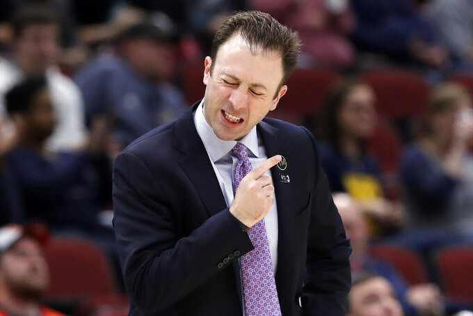 Minnesota head coach Richard Pitino reacts during the second half of an NCAA college basketball game against the Penn State in the second round of the Big Ten Conference tournament, Thursday, March 14, 2019, in Chicago. (AP Photo/Nam Y. Huh)