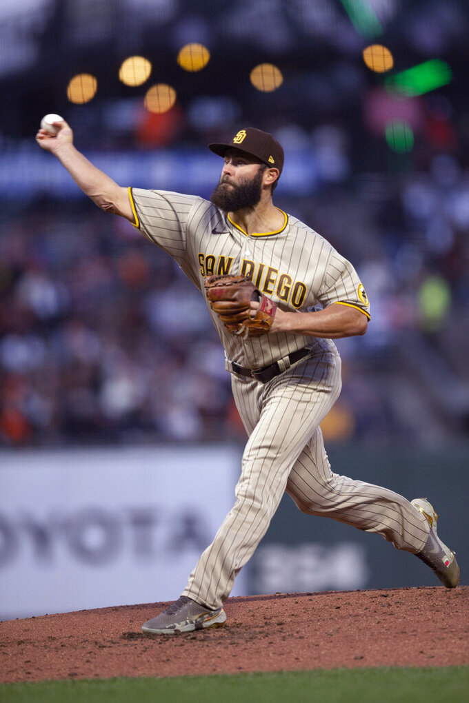 San Diego Padres starting pitcher Jake Arrieta throws to a San Francisco Giants batter during the second inning of a baseball game, Tuesday, Sept. 14, 2021, in San Francisco. (AP Photo/D. Ross Cameron)