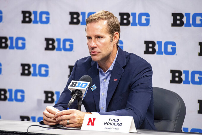 Nebraska men's head coach Fred Hoiberg addresses the media during the first day of the Big Ten NCAA college basketball media days, Thursday, Oct. 7, 2021, in Indianapolis. (AP Photo/Doug McSchooler)