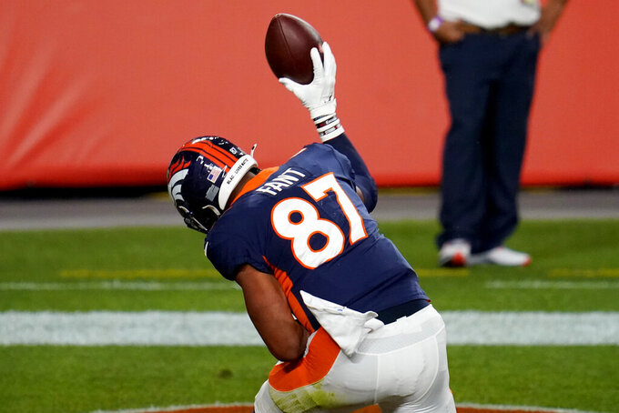Denver Broncos tight end Noah Fant (87) celebtrates his touchdown against the Tennessee Titans during the first half of an NFL football game, Monday, Sept. 14, 2020, in Denver. (AP Photo/David Zalubowski)