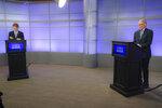 Rep. Joe Kennedy III, left, and Sen. Edward Markey wait for their debate in the Democratic primary for senator from Massachusetts, Monday, June 1, 2020, in Springfield, Mass. (Matthew J. Lee/The Boston Globe via AP, Pool)