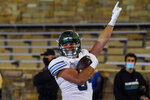 Tulane tight end Will Wallace celebrates his touchdown against Tulsa during the second half of an NCAA college football game in Tulsa, Okla., Thursday, Nov. 19, 2020. (AP Photo/Sue Ogrocki)