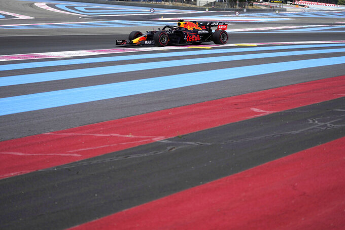 Red Bull driver Max Verstappen of the Netherlands steers his car during the first free practice for the French Formula One Grand Prix at the Paul Ricard racetrack in Le Castellet, southern France, Friday, June 18, 2021. The French Grand Prix will be held on Sunday. (AP Photo/Francois Mori)
