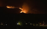 The Cameron Peak Fire, the largest wildfire in Colorado history, works its way through the trees outside Loveland, Colo., late Saturday, Oct. 17, 2020. (Bethany Baker/Fort Collins Coloradoan via AP)