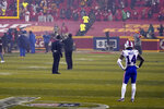 FILE - In this Jan. 24, 2021, file photo, Buffalo Bills wide receiver Stefon Diggs stands on the field after their 38-24 loss to the Kansas City Chiefs in the AFC championship NFL football game in Kansas City, Mo. (AP Photo/Jeff Roberson, File)