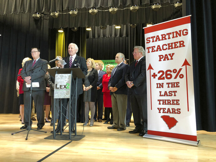 South Carolina Gov. Henry McMaster discusses his proposal to give every teacher in the state a $3,000 raise in next year's budget during a news conference on Tuesday, Dec. 10, 2019 in Cayce, South Carolina. McMaster said the additional money will move South Carolina into the top 25 in the nation in average teacher salaries. (AP Photo/Jeffrey Collins)