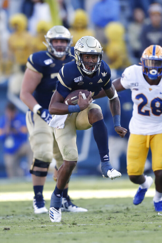 Georgia Tech quarterback James Graham (4) runs for a short gain in the first half of an NCAA college football game against the Pittsburgh Saturday, Nov. 2, 2019, in Atlanta. (AP Photo/John Bazemore)