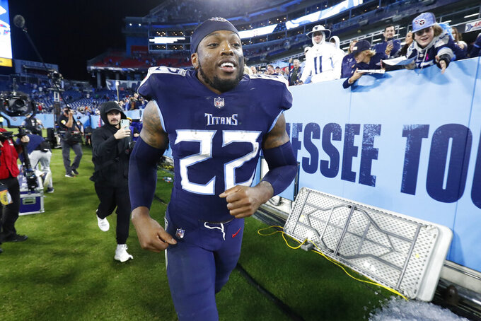 Tennessee Titans running back Derrick Henry leaves the field after the Titans beat the Buffalo Bills 34-31 in an NFL football game Monday, Oct. 18, 2021, in Nashville, Tenn. (AP Photo/Wade Payne)