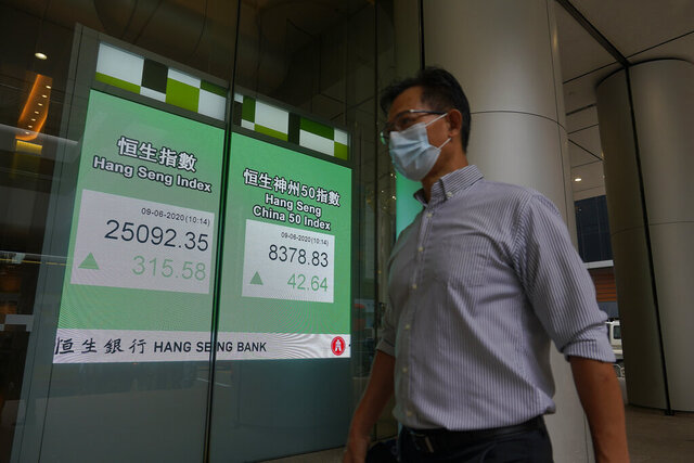 A man wearing a face mask walks past a bank electronic board showing the Hong Kong share index at Hong Kong Stock Exchange Tuesday, June 9, 2020. Asian shares were mixed on Tuesday after the Nasdaq hit a record high. (AP Photo/Vincent Yu)