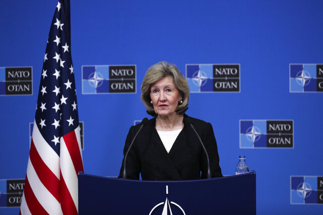 U.S. Ambassador to NATO Kay Bailey Hutchison speaks during a media conference at NATO headquarters in Brussels, Tuesday, Feb. 11, 2020. (AP Photo/Francisco Seco)