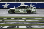 Jimmie Johnson drives during a NASCAR Cup Series auto race at Charlotte Motor Speedway Sunday, May 24, 2020, in Concord, N.C. (AP Photo/Gerry Broome)