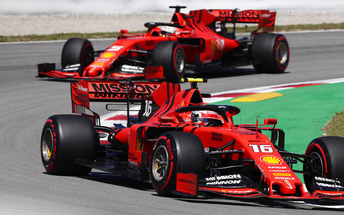 Ferrari driver Charles Leclerc of Monaco leads his teammate Ferrari driver Sebastian Vettel of Germany during the first free practice at the Barcelona Catalunya racetrack in Montmelo, just outside Barcelona, Spain, Friday, May 10, 2019. The Formula One race will take place on Sunday. (AP Photo/Manu Fernandez)
