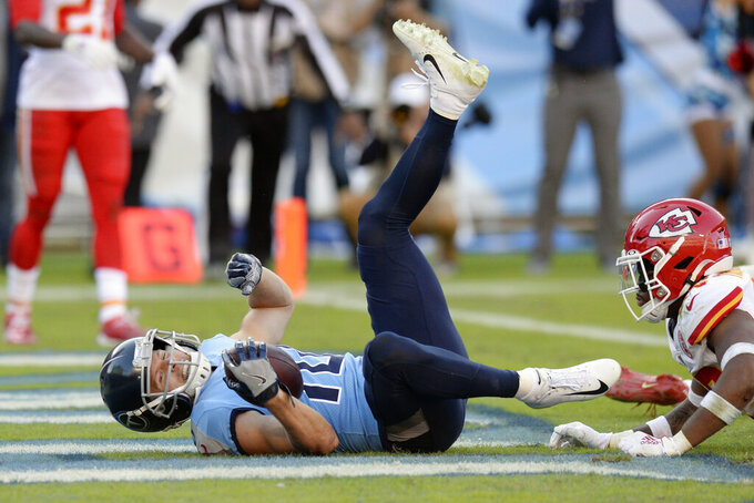 Tennessee Titans wide receiver Adam Humphries (10) scores the winning touchdown against the Kansas City Chiefs in the fourth quarter of an NFL football game Sunday, Nov. 10, 2019, in Nashville, Tenn. The Titans won 35-32. (AP Photo/Mark Zaleski)