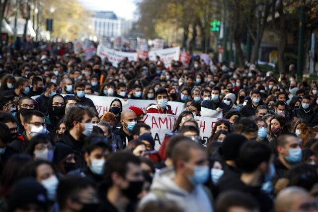 Students and teachers take part in a rally against education reforms in Athens, Thursday, Jan. 28, 2021. Thousands of protesters in Greece have held demonstrations in the Greek capital and the second largest city of Thessaloniki against proposed education reforms, defying a weeklong public ban on protests imposed as part of measures to tackle the coronavirus pandemic. (AP Photo/Thanassis Stavrakis)
