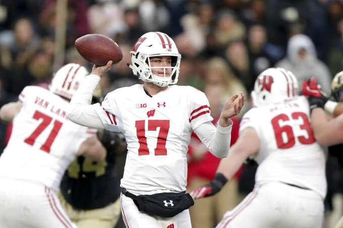 Wisconsin quarterback Jack Coan (17) throws against Purdue during the first half of an NCAA college football game in West Lafayette, Ind., Saturday, Nov. 17, 2018. (AP Photo/Michael Conroy)