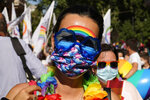 People take part in the annual Pride march, in Rome, Saturday, June 26, 2021. This year's march comes amid widespread concern in Europe about legislation in Hungary that will ban showing content about LGBT issues to children and a controversial Vatican communication to Italy, criticizing a law that would extend additional protections from discrimination to the LGBT community.. (AP Photo/Gregorio Borgia)