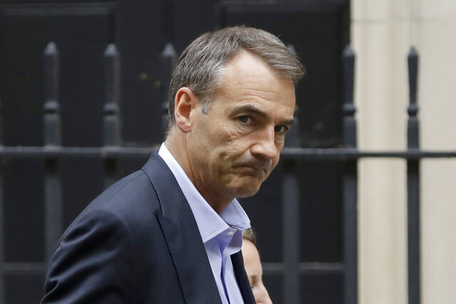 Bernard Looney the CEO of oil and gas company BP walks into 10 Downing Street in London, Friday, Sept. 11, 2020. (AP Photo/Matt Dunham)