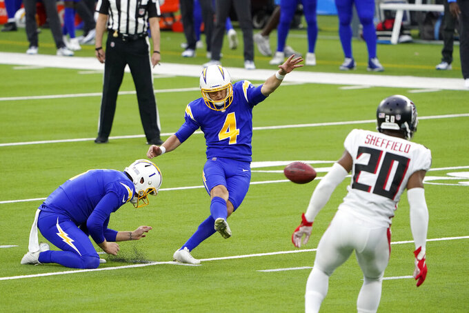 Los Angeles Chargers kicker Mike Badgley makes a field goal against the Atlanta Falcons during the first half of an NFL football game Sunday, Dec. 13, 2020, in Inglewood, Calif. (AP Photo/Jae C. Hong)