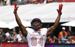UNLV wide receiver Kendal Keys celebrates after scoring a touchdown during the first half of an NCAA college football game against Southern California, Saturday, Sept. 1, 2018, in Los Angeles. (AP Photo/Mark J. Terrill)