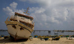 Palestinian fishing boats parked in the Gaza seaport in Gaza City, Thursday, June 13, 2019. The Israeli military took the rare step of closing the Gaza Strip's offshore waters to Palestinian fishermen Wednesday until further notice in response to incendiaries launched into Israel in recent days. (AP Photo/Hatem Moussa)