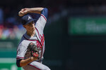 Atlanta Braves starting pitcher Max Fried (54) throws a pitch during the first inning of a baseball game against the Washington Nationals in Washington, Sunday, Sept. 15, 2019. (AP Photo/Manuel Balce Ceneta)