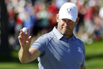 FILE - In this Oct. 2, 2016, file photo, Europe's Lee Westwood reacts after winning the first hole during a singles match at the Ryder Cup golf tournament at Hazeltine National Golf Club in Chaska, Minn. Westwood will tie a European record by playing in his 11th Ryder Cup at age 48. The pandemic-delayed 2020 Ryder Cup returns the United States next week at Whistling Straits along the Wisconsin shores of Lake Michigan.  (AP Photo/Chris Carlson, File)