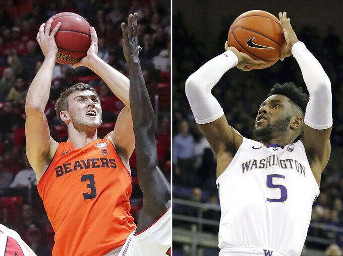 FILE - At left, in a Feb. 2, 2019, file photo, Oregon State forward Tres Tinkle (3) shoots against Utah during the first half of an NCAA college basketball game, in Salt Lake City. At right, in a Jan. 17, 2019, file photo, Washington's Jaylen Nowell (5) shoots during the first half of the team's NCAA college basketball game against Stanford, in Seattle. The top conferences in college basketball are wrapping up regular-season play, along with the races to determine each league's player of the year. Washington has long since wrapped up the regular-season Pac-12 title behind sophomore Jaylen Nowell. Oregon State forward Tres Tinkle (20.5 points, 8.0 rebounds) would be the likely top contender.(AP Photo/File)