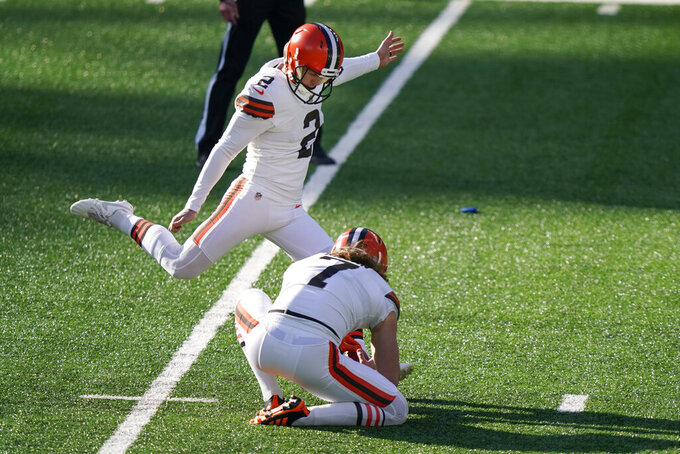 FILE - In this Dec. 27, 2020, file photo, Cleveland Browns' Cody Parkey (2) kicks a field goal during the first half of an NFL football game against the New York Jets in East Rutherford, N.J. Parkey is being placed on injured reserve, meaning Chase McLaughlin will likely begin the season as Cleveland's starter. Parkey sustained a quadriceps injury during an exhibition win over the New York Giants, Sunday, Aug. 22, 2021. (AP Photo/Corey Sipkin, File)