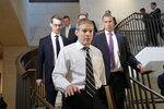Rep. Jim Jordan, R-Ohio, ranking member of the Committee on Oversight Reform arrives at the US Capitol in Washington, Thursday, Oct. 17, 2019. (AP Photo/Pablo Martinez Monsivais)