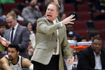 Michigan State head coach Tom Izzo directs his team during the first half of an NCAA college basketball game against Ohio State in the quarterfinals of the Big Ten Conference tournament, Friday, March 15, 2019, in Chicago. (AP Photo/Nam Y. Huh)