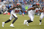 Tampa Bay Buccaneers linebacker Jason Pierre-Paul (90) plays against the Tennessee Titans in the second half of an NFL football game Sunday, Oct. 27, 2019, in Nashville, Tenn. (AP Photo/Mark Zaleski)
