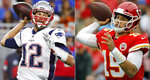 FILE - At left, in a Sept. 23, 2018, file photo, New England Patriots quarterback Tom Brady throws during the first half of an NFL football game against the Detroit Lions, in Detroit. At right, in an Oct. 7, 2018, file photo, Kansas City Chiefs quarterback Patrick Mahomes (15) throws a pass during the first half of an NFL football game against the Jacksonville Jaguars, in Kansas City, Mo. One is the sixth-round pick that became arguably the greatest quarterback in NFL history. The other is the first-round choice in his first full season as starter. Yet there are similarities between the Patriots' Tom Brady and the Chiefs' Patrick Mahomes, and some day their resumes may be similar, too. (AP Photo/File)