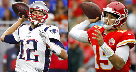 Brady and Mahomes Football