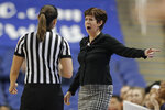 Notre Dame head coach Muffet McGraw, right, argues a call during the first half of an Atlantic Coast Conference women's tournament NCAA college basketball game against North Carolina in Greensboro, N.C., Friday, March 8, 2019. (AP Photo/Chuck Burton)