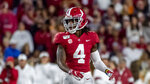 Alabama wide receiver Jerry Jeudy (4) during the first half of an NCAA college football game against Tennessee, Saturday, Oct. 19, 2019, in Tuscaloosa, Ala. (AP Photo/Vasha Hunt)