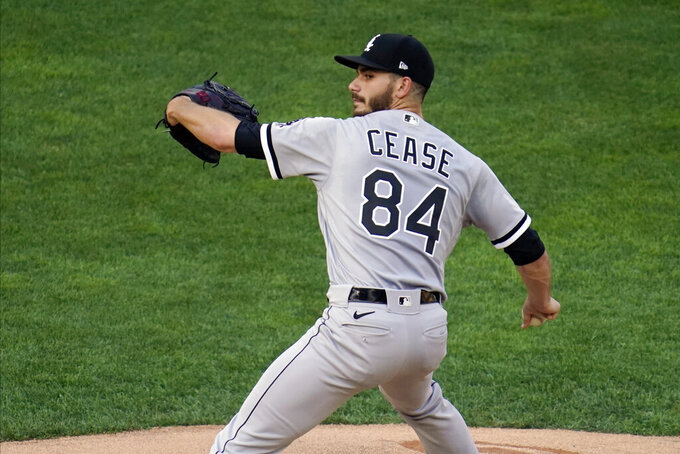 Chicago White Sox pitcher Dylan Cease throws against the Minnesota Twins in the first inning of a baseball game Monday, July 5, 2021, in Minneapolis. (AP Photo/Jim Mone)
