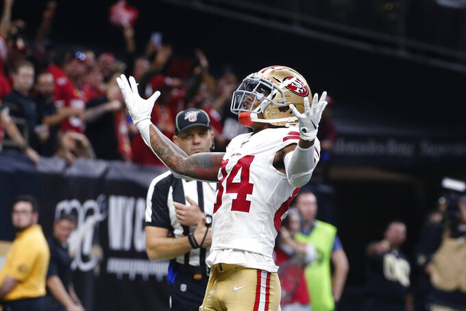 San Francisco 49ers wide receiver Kendrick Bourne (84) celebrates his touchdown in the second half an NFL football game against the San Francisco 49ers in New Orleans, Sunday, Dec. 8, 2019. (AP Photo/Butch Dill)