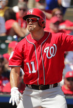 Washington Nationals' Ryan Zimmerman (11) reacts at bat during an exhibition spring training baseball game against the St. Louis Cardinals on Monday, March 11, 2019, in Jupiter, Fla. (AP Photo/Brynn Anderson)