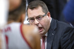 Stanford head coach Jerod Haase talks to his players during a timeout in the first half of an NCAA college basketball game against San Diego on Saturday, Dec. 21, 2019, in San Francisco. (AP Photo/D. Ross Cameron)